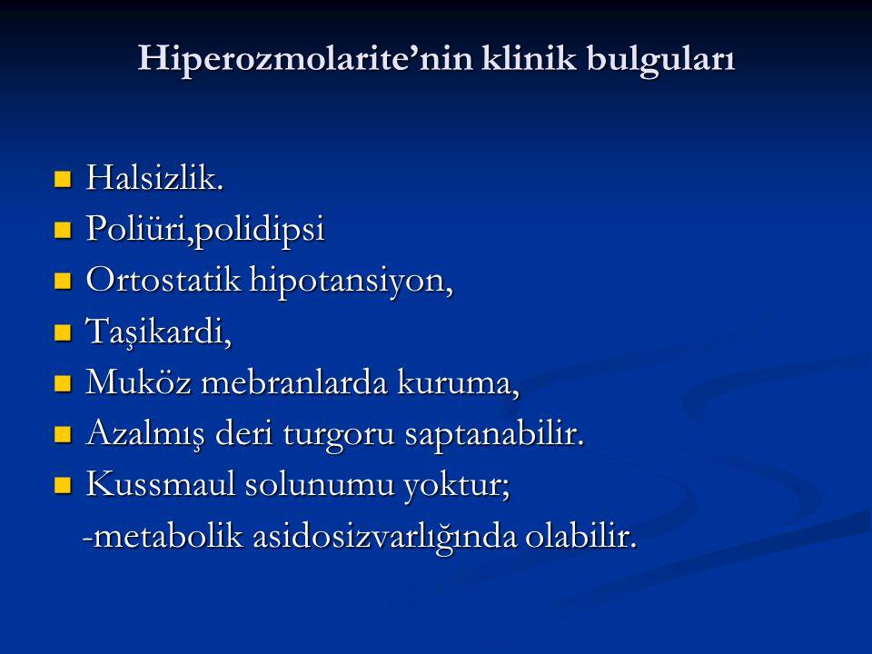 Hiperozmolarite'nin klinik bulguları Halsizlik.Halsizlik.