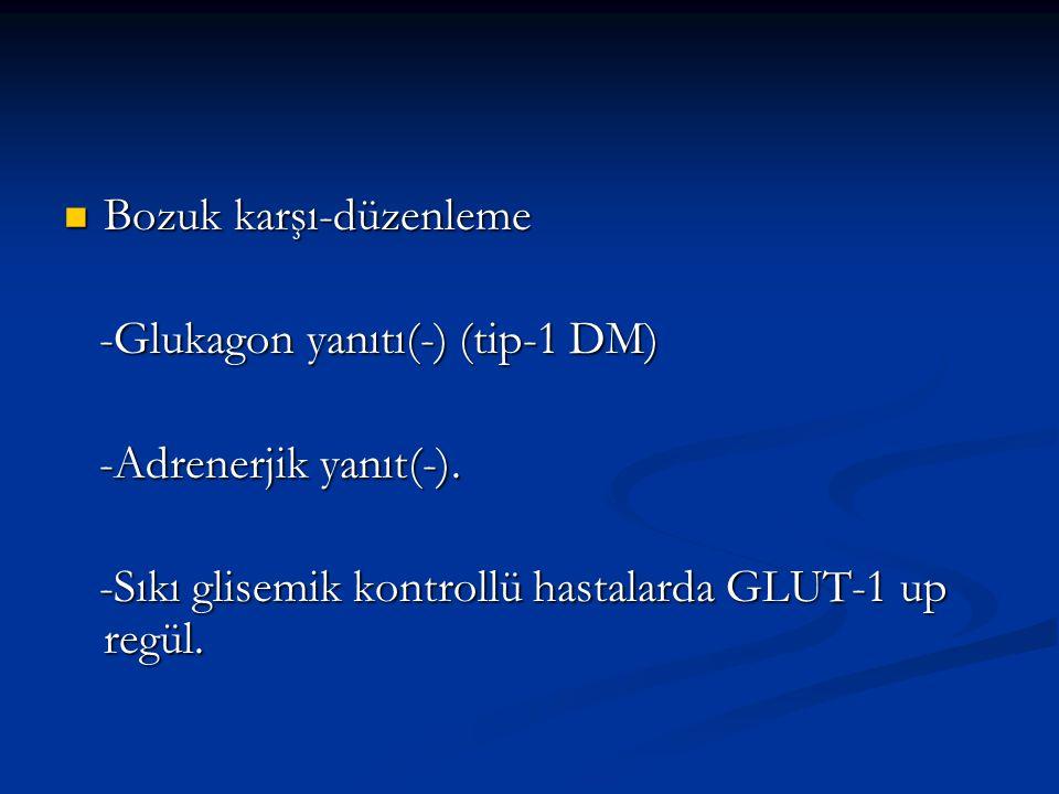 Bozuk karşı-düzenleme Bozuk karşı-düzenleme -Glukagon yanıtı(-) (tip-1 DM) -Glukagon yanıtı(-) (tip-1 DM) -Adrenerjik yanıt(-).