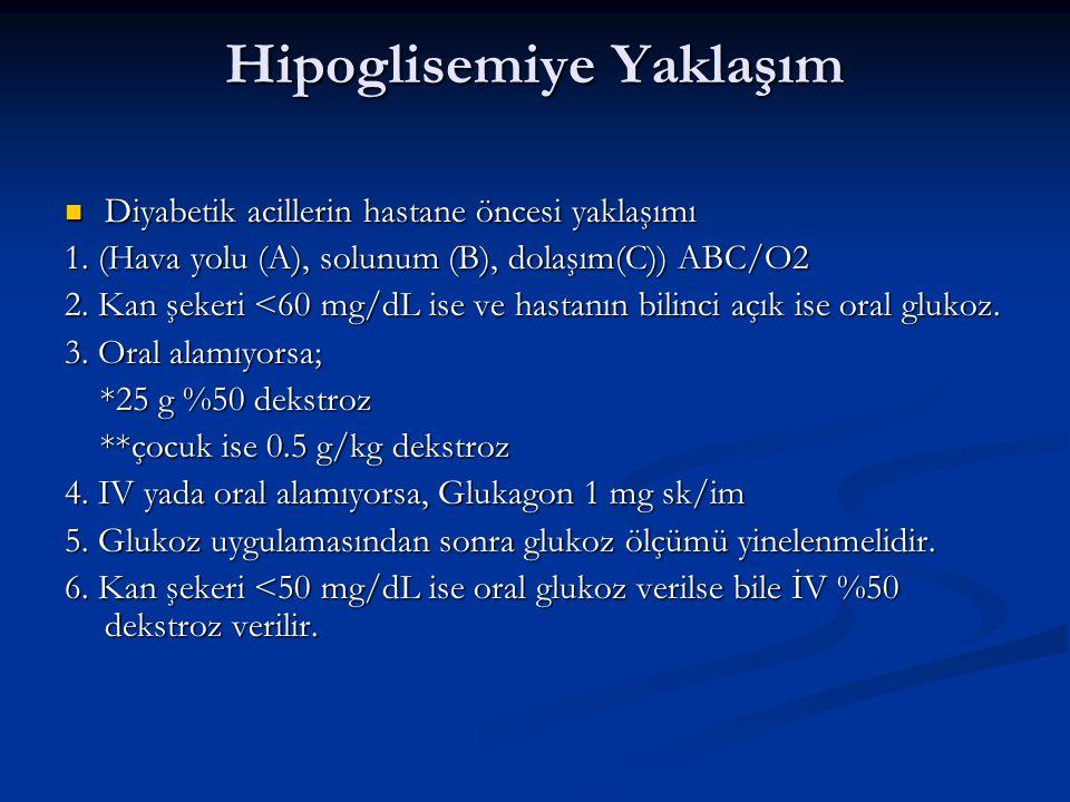 DKA Tanı Kriterleri hafif orta ağır hafif orta ağır Glisemi (mg/dl) >250 >250 >250 Glisemi (mg/dl) >250 >250 >250 Arteryel pH 7.25 7.00-7.24 <7.00 Arteryel pH 7.25 7.00-7.24 <7.00 HCO3 (mEq/l) 15-18 10-15 <10 HCO3 (mEq/l) 15-18 10-15 <10 Ketonemi* (+) (+) (+) Ketonemi* (+) (+) (+) Ketonüri* (++) (++) (+++) Ketonüri* (++) (++) (+++) Ef.ozmolalite** Değişken Değişken Değişken Ef.ozmolalite** Değişken Değişken Değişken Anyon gap*** >10 >12 >12 Anyon gap*** >10 >12 >12 Mental durum Açık Açık Stupor Mental durum Açık Açık Stupor