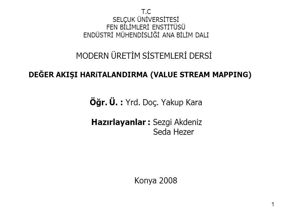 2 İÇİNDEKİLER 1.YALIN ÜRETİM 2.DEĞER AKIŞI 3.DEĞER AKIŞI YÖNETİMİ 4.DEĞER AKIŞI HARİTALANDIRMA 4.1 Değer Akışı Haritalandırmanın Adımları 4.1.1 Bir Ürün Ailesinin Seçilmesi 4.1.2 Mevcut Durum Haritası Çizimi 4.1.3 Gelecek Durum Haritasının Çizilmesi 4.1.4 Faaliyet Planının Hazırlanması 5.HiDROLiK KAPAK AKISINA DEGER AKISI HARTALANDIRMA UYGULAMASI 5.1 Ürün Ailesinin Seçimi 5.2 Sistem Tanımı: Hidrolik Kapak Deger Akısı 5.3.
