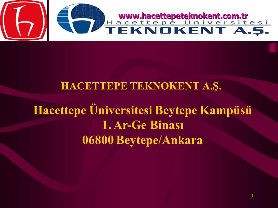 1 HACETTEPE TEKNOKENT A.Ş. www.hacettepeteknokent.com.tr Hacettepe Üniversitesi Beytepe Kampüsü 1. Ar-Ge Binası 06800 Beytepe/Ankara