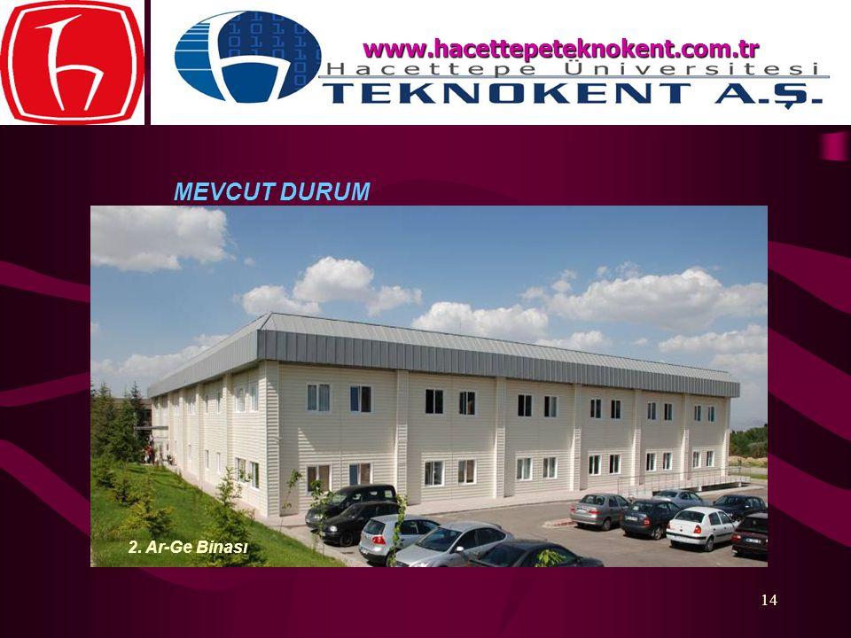 14 MEVCUT DURUM www.hacettepeteknokent.com.tr 2. Ar-Ge Binası