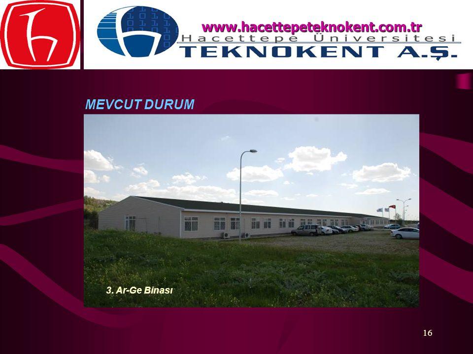 16 MEVCUT DURUM www.hacettepeteknokent.com.tr 3. Ar-Ge Binası