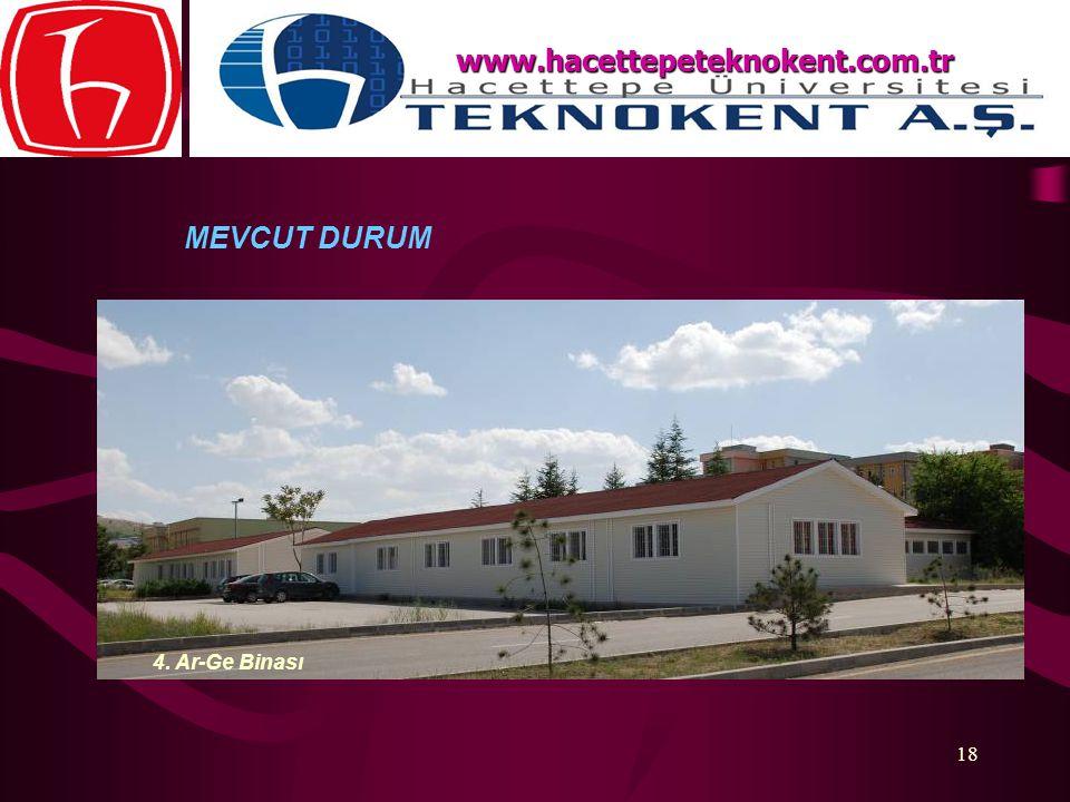 18 MEVCUT DURUM www.hacettepeteknokent.com.tr 4. Ar-Ge Binası