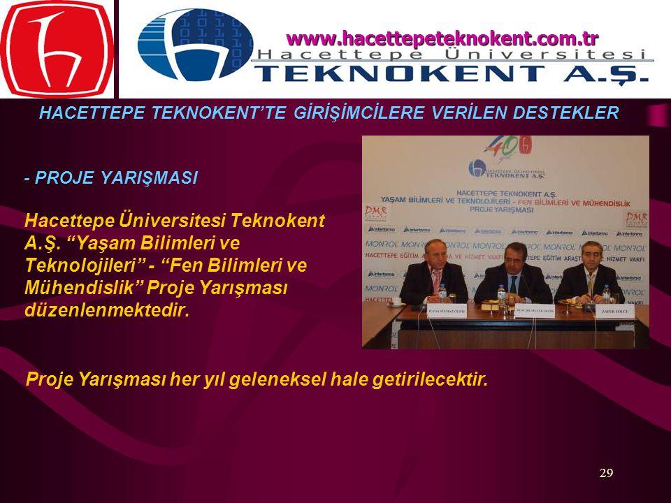 """29 - PROJE YARIŞMASI Hacettepe Üniversitesi Teknokent A.Ş. """"Yaşam Bilimleri ve Teknolojileri"""" - """"Fen Bilimleri ve Mühendislik"""" Proje Yarışması düzenle"""