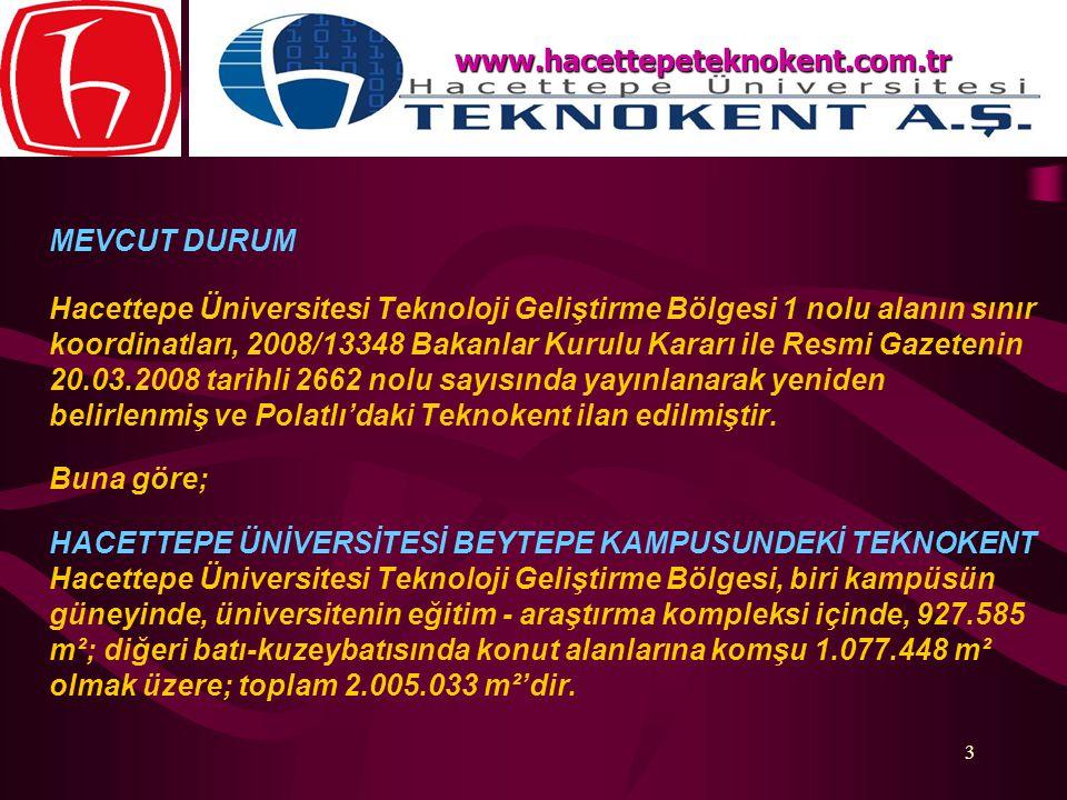 3 MEVCUT DURUM Hacettepe Üniversitesi Teknoloji Geliştirme Bölgesi 1 nolu alanın sınır koordinatları, 2008/13348 Bakanlar Kurulu Kararı ile Resmi Gaze