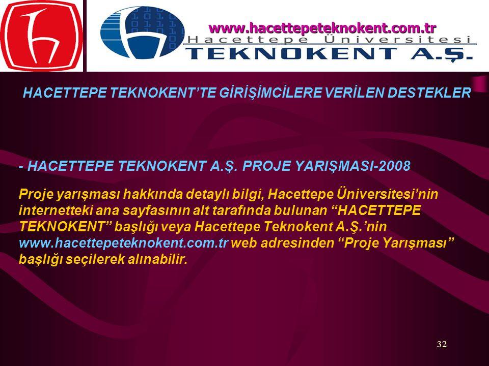 32 - HACETTEPE TEKNOKENT A.Ş. PROJE YARIŞMASI-2008 Proje yarışması hakkında detaylı bilgi, Hacettepe Üniversitesi'nin internetteki ana sayfasının alt