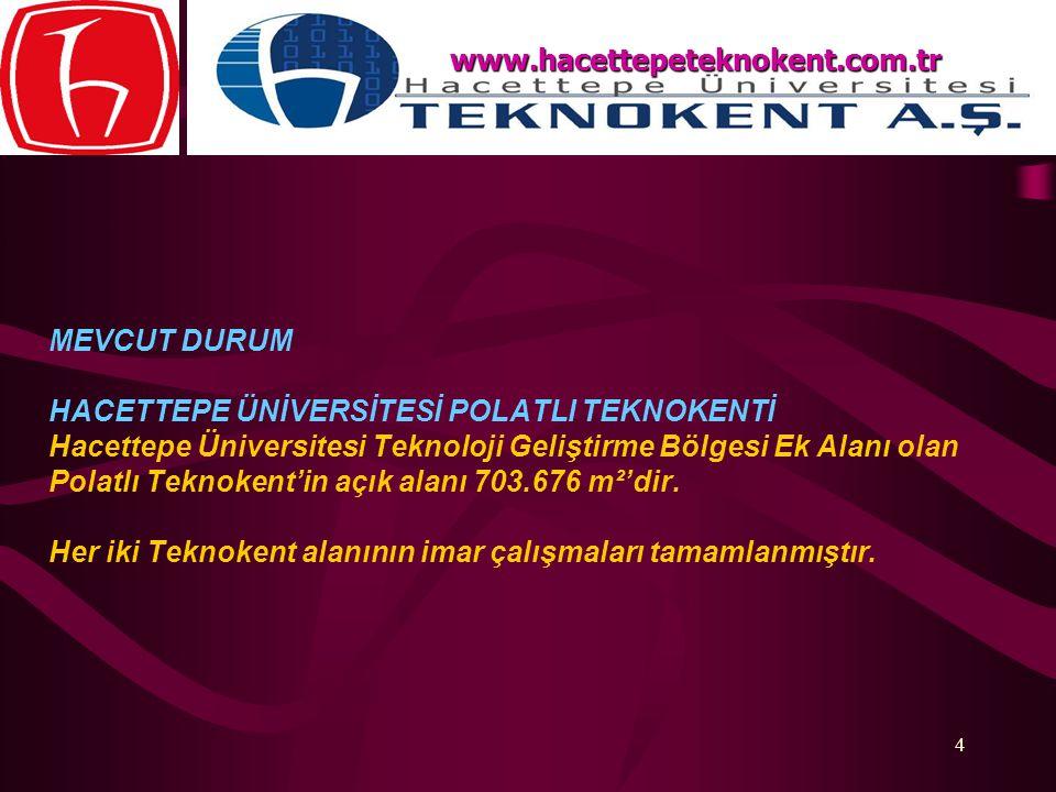 4 MEVCUT DURUM HACETTEPE ÜNİVERSİTESİ POLATLI TEKNOKENTİ Hacettepe Üniversitesi Teknoloji Geliştirme Bölgesi Ek Alanı olan Polatlı Teknokent'in açık a