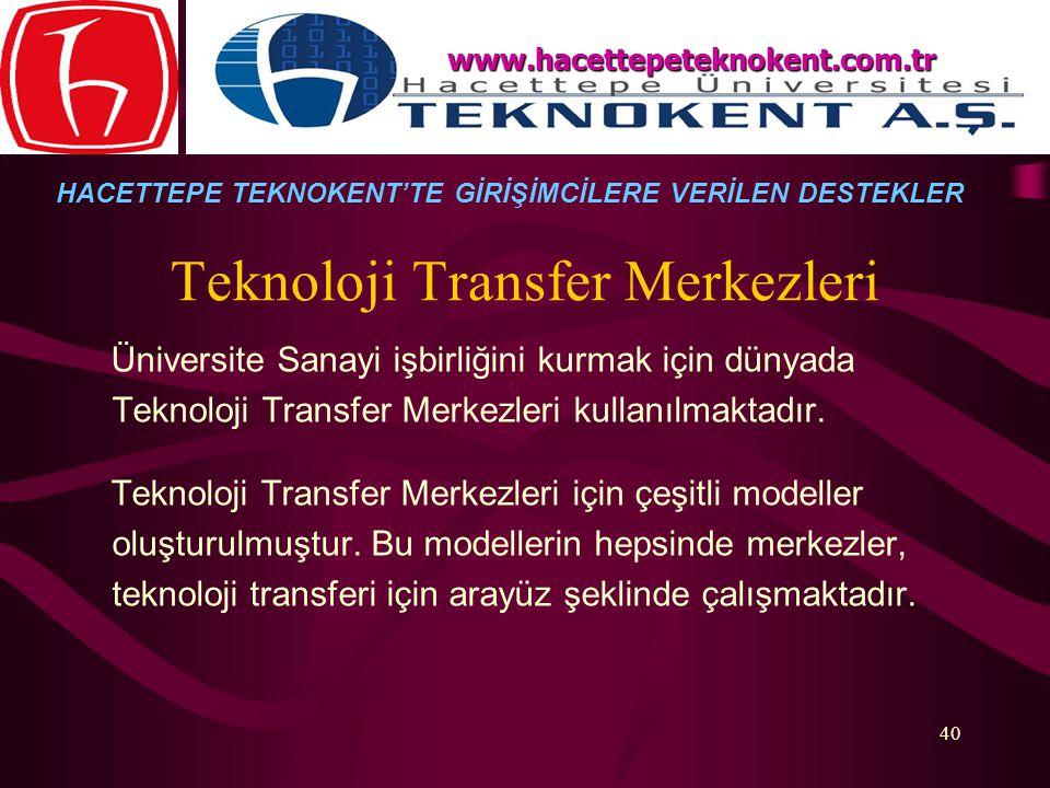 40 Teknoloji Transfer Merkezleri Üniversite Sanayi işbirliğini kurmak için dünyada Teknoloji Transfer Merkezleri kullanılmaktadır. Teknoloji Transfer