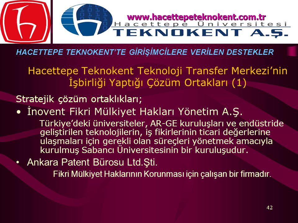 42 Stratejik çözüm ortaklıkları; İnovent Fikri Mülkiyet Hakları Yönetim A.Ş. Türkiye'deki üniversiteler, AR-GE kuruluşları ve endüstride geliştirilen
