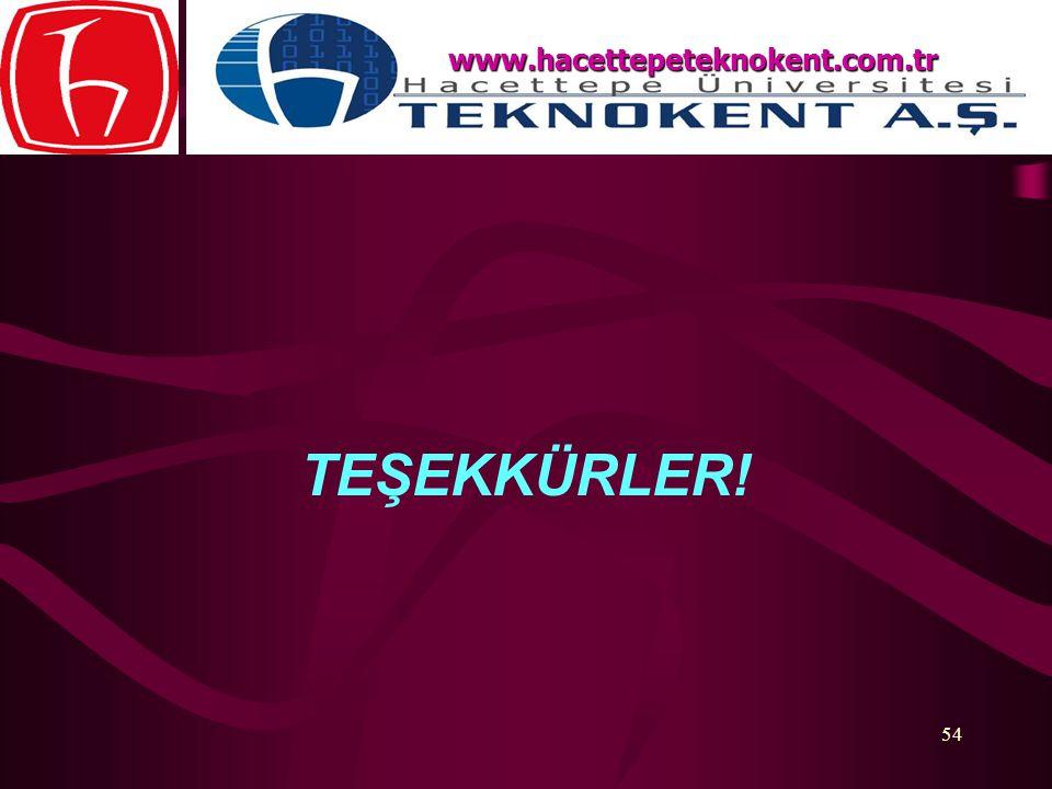 54 TEŞEKKÜRLER! www.hacettepeteknokent.com.tr