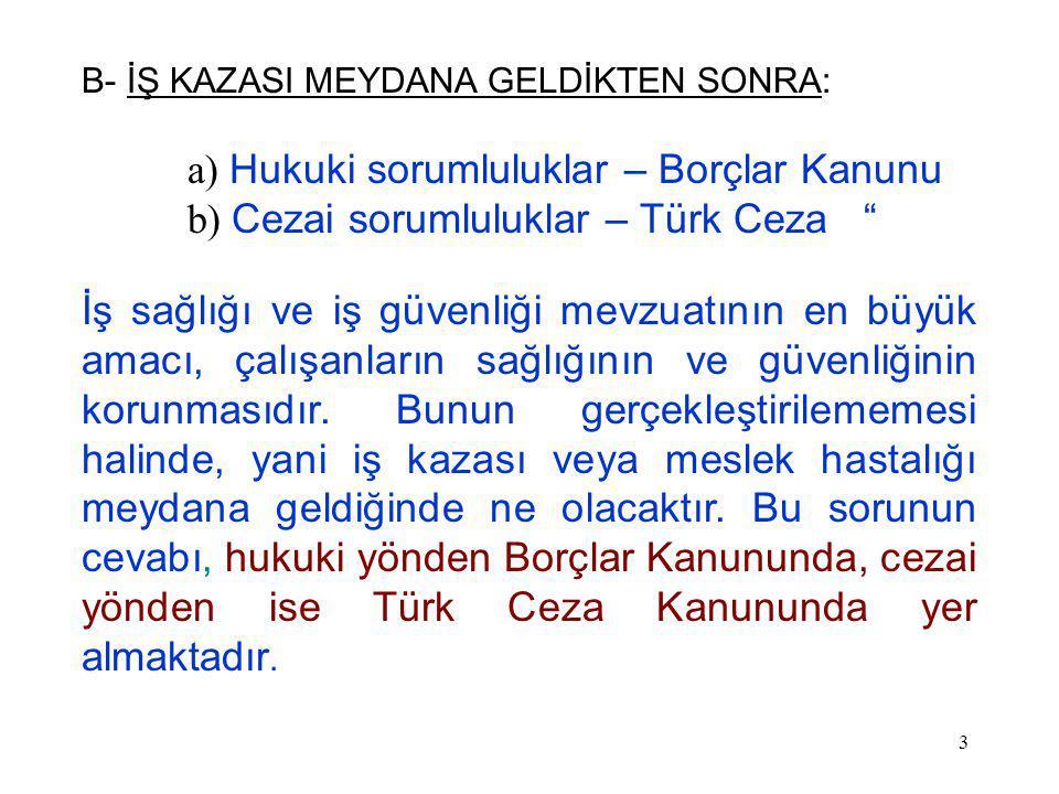 3 B- İŞ KAZASI MEYDANA GELDİKTEN SONRA: a) Hukuki sorumluluklar – Borçlar Kanunu b) Cezai sorumluluklar – Türk Ceza İş sağlığı ve iş güvenliği mevzuatının en büyük amacı, çalışanların sağlığının ve güvenliğinin korunmasıdır.