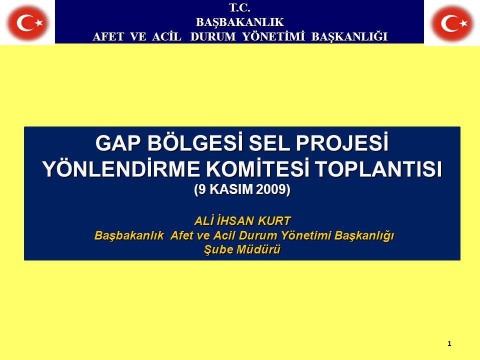 T.C.BAŞBAKANLIK Başkanlık ; 1.Planlama ve Zarar Azaltma Dairesi Başkanlığı.