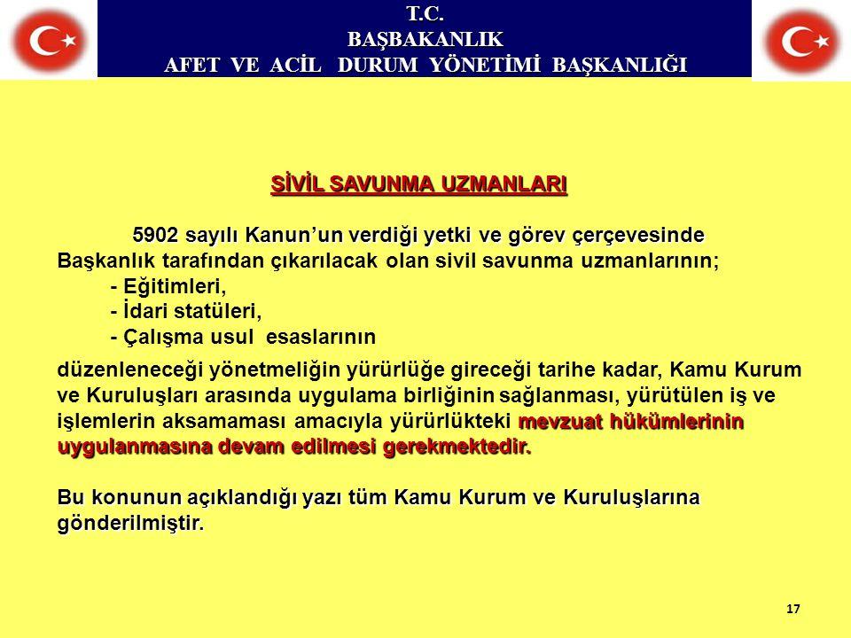 T.C.BAŞBAKANLIK AFET VE ACİL DURUM YÖNETİMİ BAŞKANLIĞI SİVİL SAVUNMA UZMANLARI 5902 sayılı Kanun'un verdiği yetki ve görev çerçevesinde Başkanlık tara