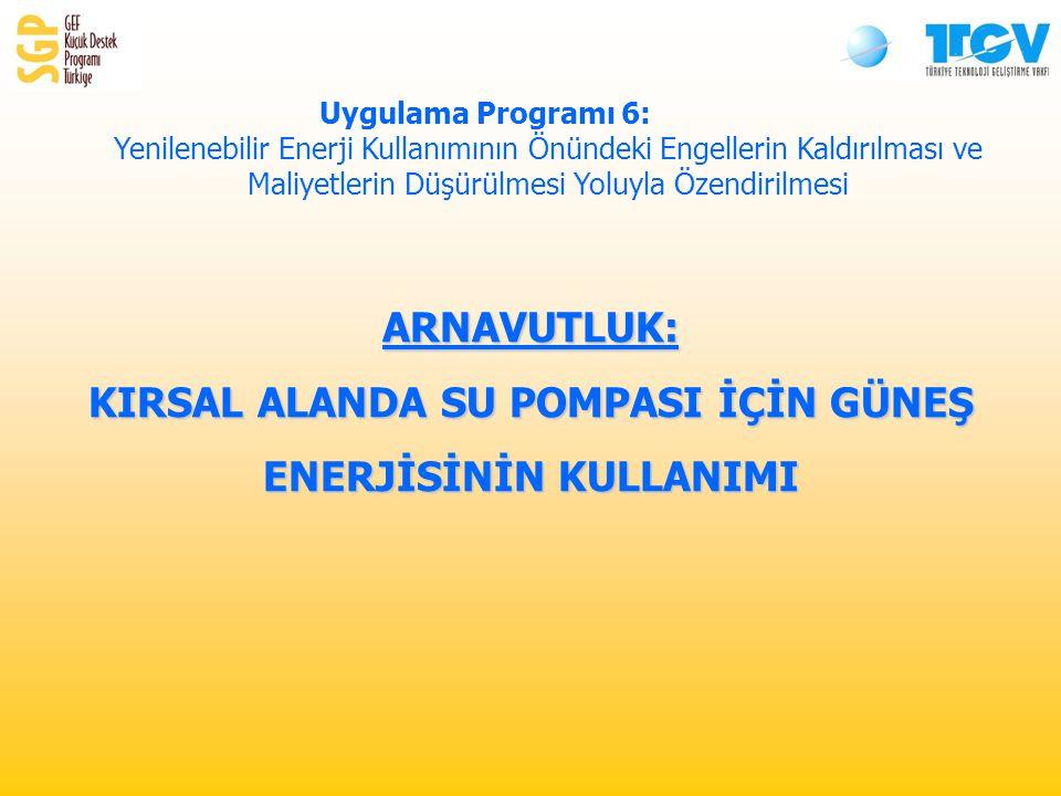 ARNAVUTLUK: KIRSAL ALANDA SU POMPASI İÇİN GÜNEŞ ENERJİSİNİN KULLANIMI Uygulama Programı 6: Yenilenebilir Enerji Kullanımının Önündeki Engellerin Kaldırılması ve Maliyetlerin Düşürülmesi Yoluyla Özendirilmesi