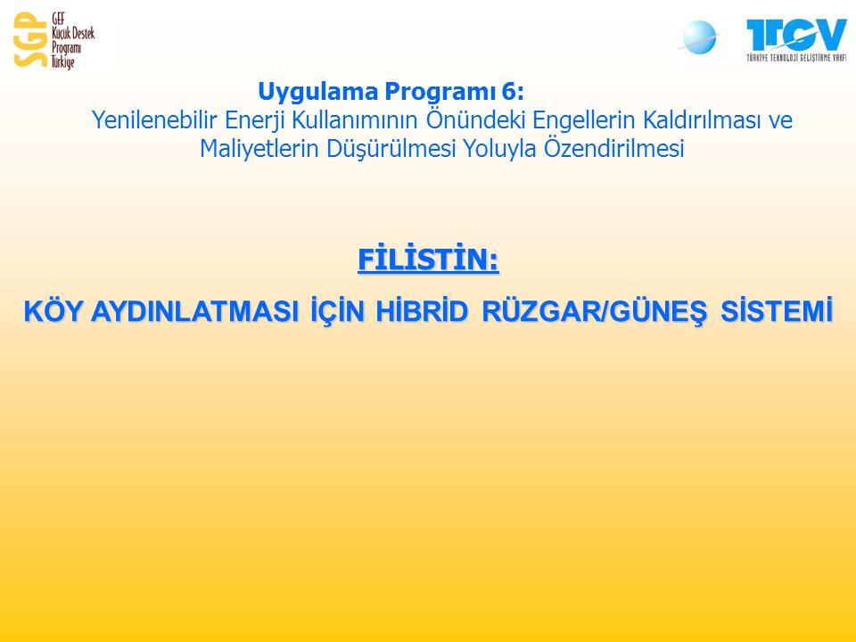 FİLİSTİN: KÖY AYDINLATMASI İÇİN HİBRİD RÜZGAR/GÜNEŞ SİSTEMİ Uygulama Programı 6: Yenilenebilir Enerji Kullanımının Önündeki Engellerin Kaldırılması ve Maliyetlerin Düşürülmesi Yoluyla Özendirilmesi