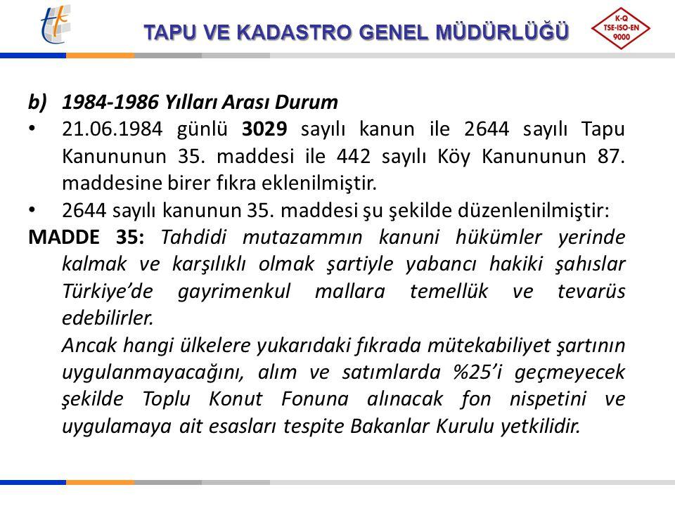 TAPU VE KADASTRO GENEL MÜDÜRLÜĞÜ b)1984-1986 Yılları Arası Durum 21.06.1984 günlü 3029 sayılı kanun ile 2644 sayılı Tapu Kanununun 35. maddesi ile 442