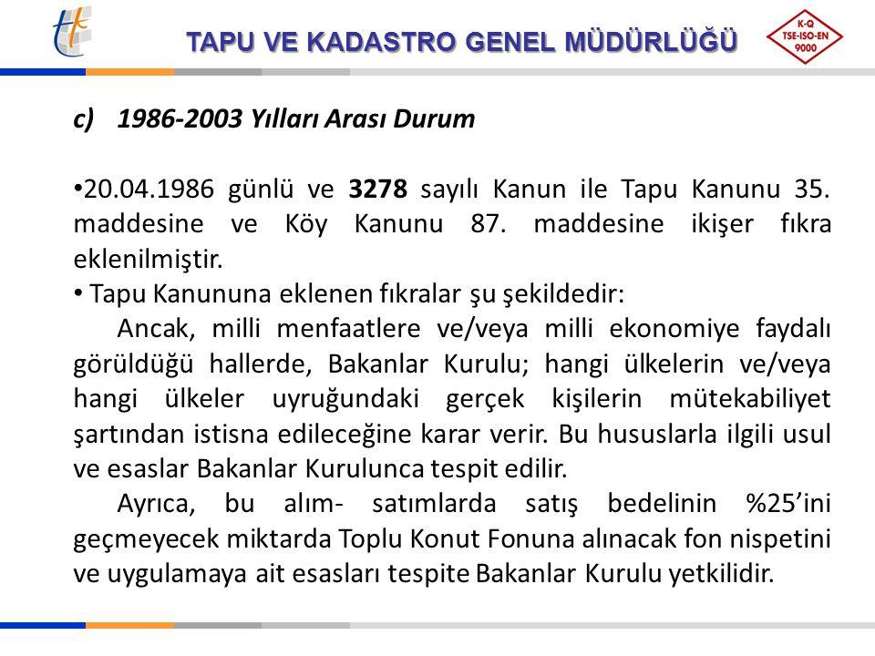 TAPU VE KADASTRO GENEL MÜDÜRLÜĞÜ c)1986-2003 Yılları Arası Durum 20.04.1986 günlü ve 3278 sayılı Kanun ile Tapu Kanunu 35. maddesine ve Köy Kanunu 87.