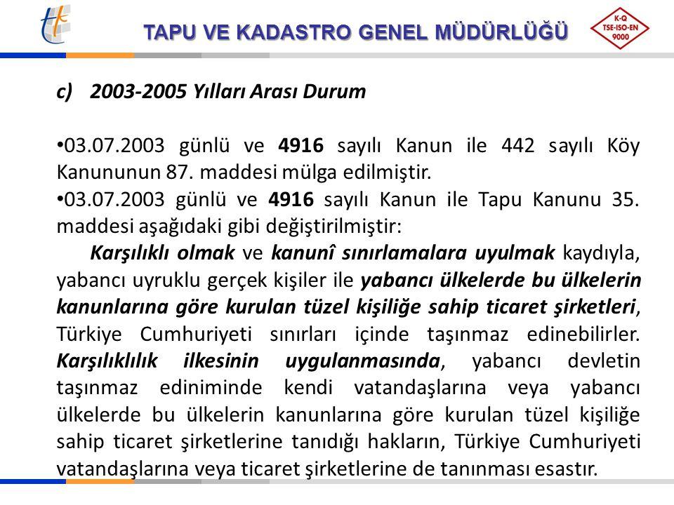 TAPU VE KADASTRO GENEL MÜDÜRLÜĞÜ c)2003-2005 Yılları Arası Durum 03.07.2003 günlü ve 4916 sayılı Kanun ile 442 sayılı Köy Kanununun 87. maddesi mülga