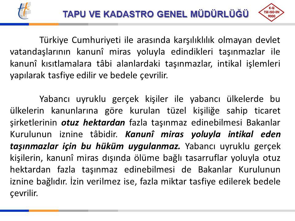 TAPU VE KADASTRO GENEL MÜDÜRLÜĞÜ Türkiye Cumhuriyeti ile arasında karşılıklılık olmayan devlet vatandaşlarının kanunî miras yoluyla edindikleri taşınm