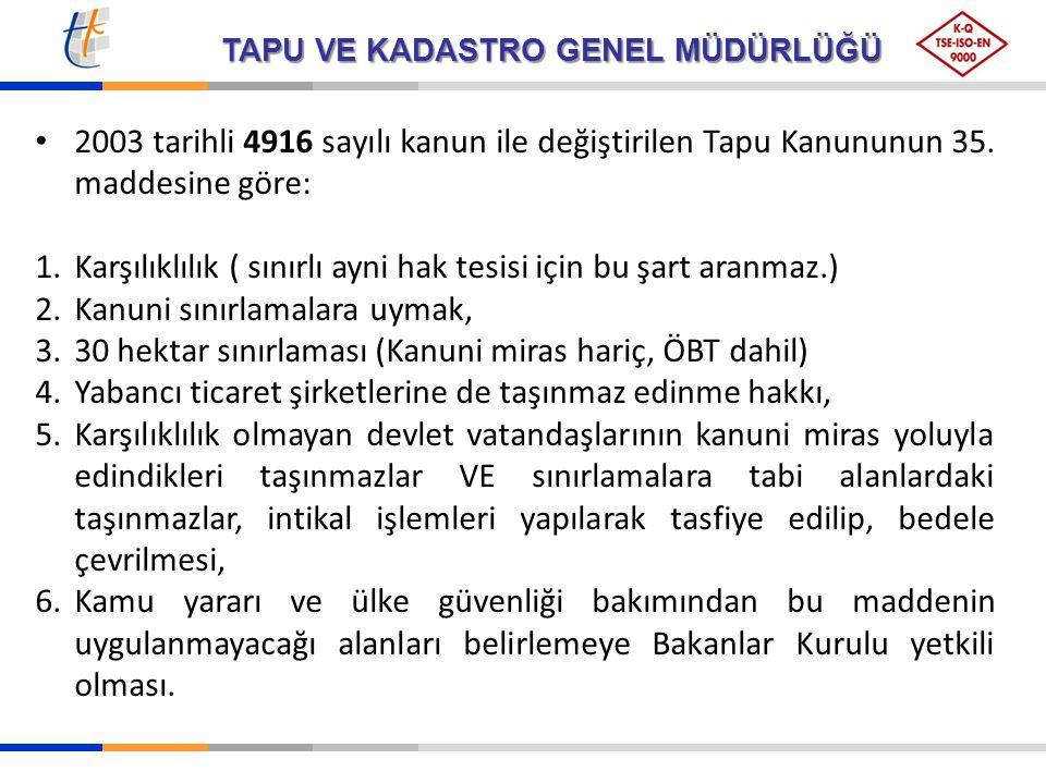 TAPU VE KADASTRO GENEL MÜDÜRLÜĞÜ 2003 tarihli 4916 sayılı kanun ile değiştirilen Tapu Kanununun 35. maddesine göre: 1.Karşılıklılık ( sınırlı ayni hak