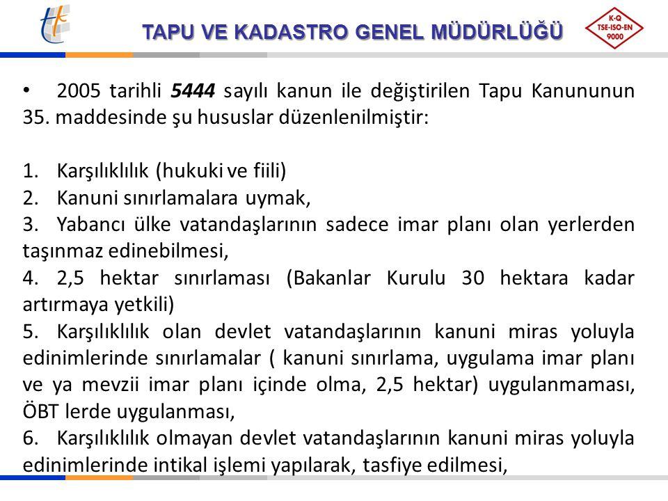 TAPU VE KADASTRO GENEL MÜDÜRLÜĞÜ 2005 tarihli 5444 sayılı kanun ile değiştirilen Tapu Kanununun 35. maddesinde şu hususlar düzenlenilmiştir: 1.Karşılı