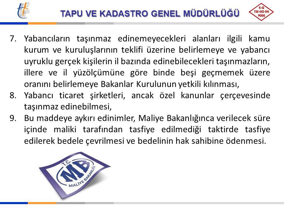 TAPU VE KADASTRO GENEL MÜDÜRLÜĞÜ 7.Yabancıların taşınmaz edinemeyecekleri alanları ilgili kamu kurum ve kuruluşlarının teklifi üzerine belirlemeye ve