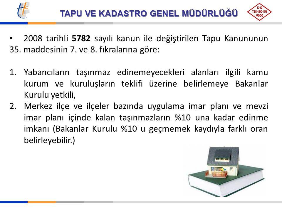TAPU VE KADASTRO GENEL MÜDÜRLÜĞÜ 2008 tarihli 5782 sayılı kanun ile değiştirilen Tapu Kanununun 35. maddesinin 7. ve 8. fıkralarına göre: 1.Yabancılar