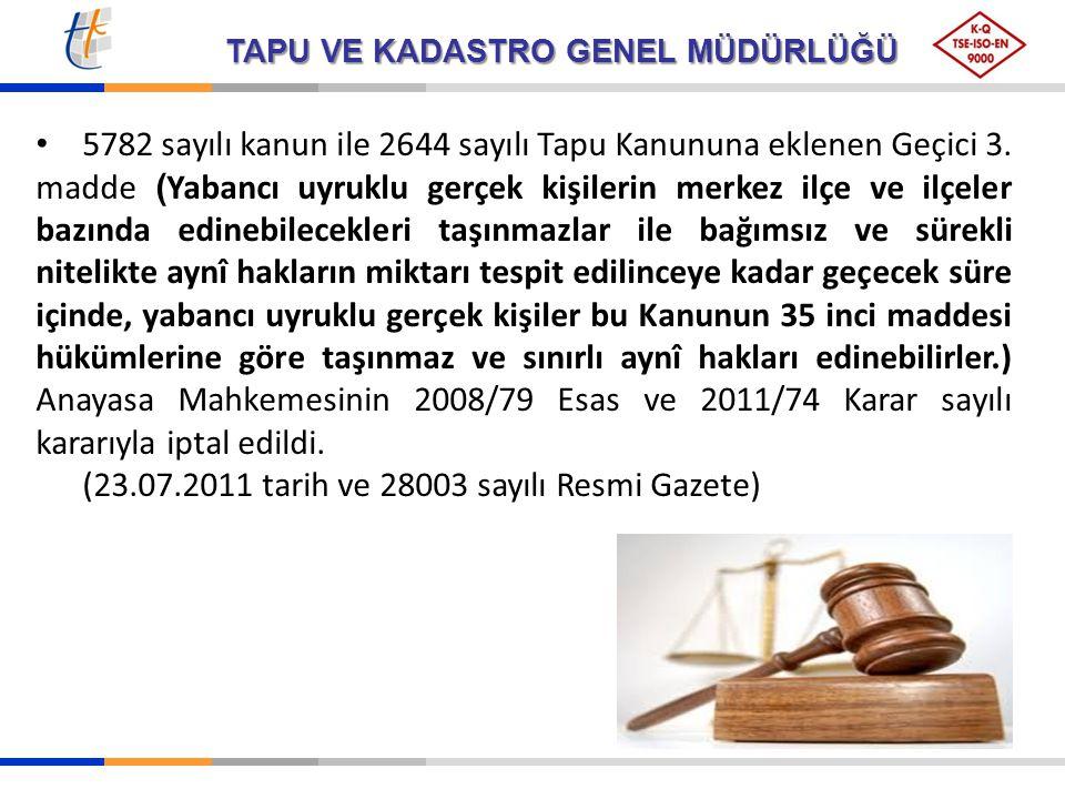 TAPU VE KADASTRO GENEL MÜDÜRLÜĞÜ 5782 sayılı kanun ile 2644 sayılı Tapu Kanununa eklenen Geçici 3. madde ( Yabancı uyruklu gerçek kişilerin merkez ilç