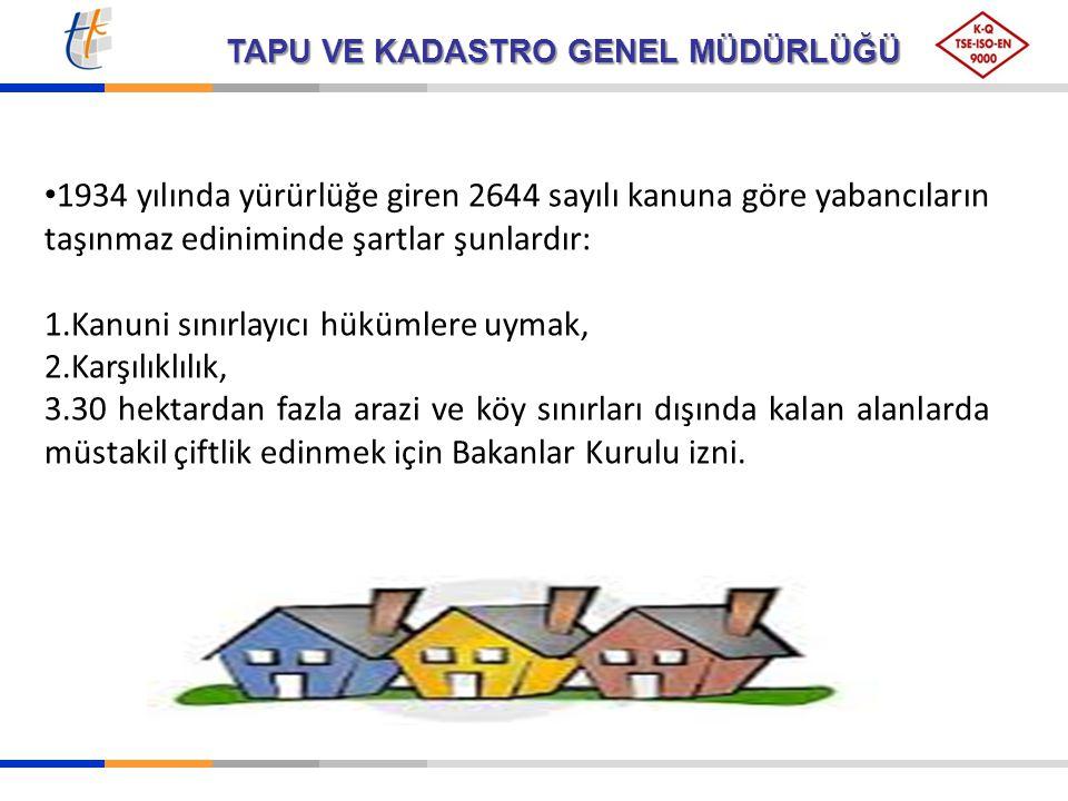 TAPU VE KADASTRO GENEL MÜDÜRLÜĞÜ 2003 tarihli 4916 sayılı kanun ile değiştirilen Tapu Kanununun 35.