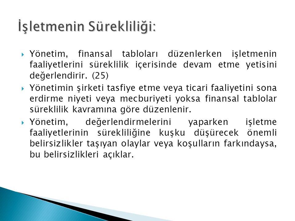  Yönetim, finansal tabloları düzenlerken işletmenin faaliyetlerini süreklilik içerisinde devam etme yetisini değerlendirir. (25)  Yönetimin şirketi