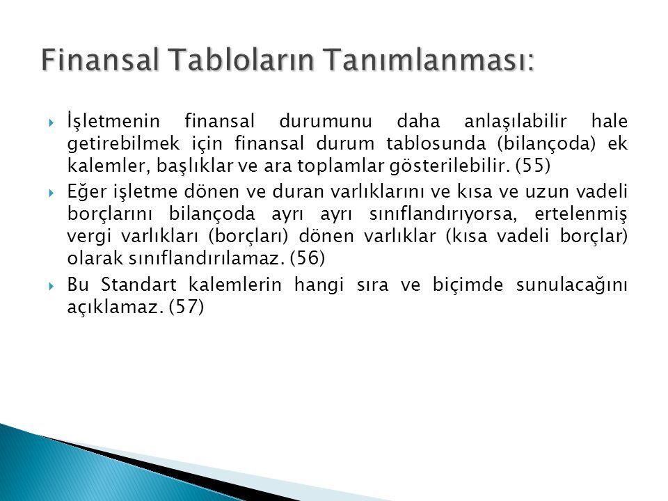  İşletmenin finansal durumunu daha anlaşılabilir hale getirebilmek için finansal durum tablosunda (bilançoda) ek kalemler, başlıklar ve ara toplamlar gösterilebilir.