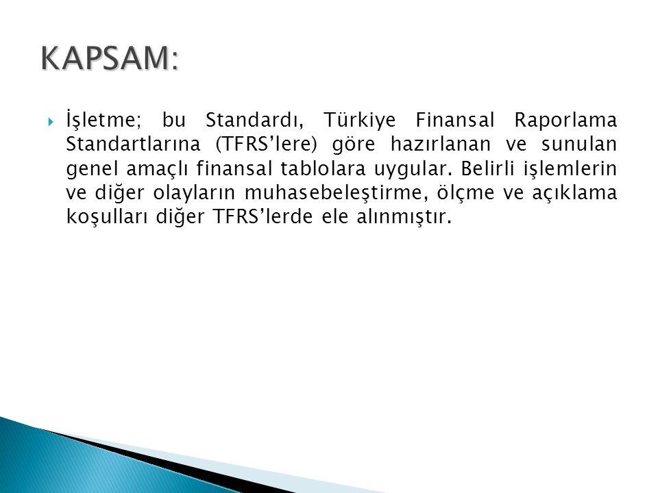 Finansal tablolar (Kullanıcıların ihtiyaçlarını karşılamak üzere hazırlanır)  Türkiye Finansal Raporlama Standartları  Türkiye Finansal Raporlama Standartları,  Türkiye Muhasebe Standartları,  TMS Yorumları ve TFRS Yorumları  Dipnotlar (İlave bilgiler içerir, mali tabloların ayrılmaz parçalarıdır)  Diğer kapsamlı gelir (Kar-zararda muhasebeleştirilmeyen, özkaynaklara yansıtılan kâr veya zararlar)  Sabit kıymetlerdeki yeniden değerleme artışı  Finansal tabloların kur çevrimlerinden kaynaklanan kazanç- kayıplar vb.