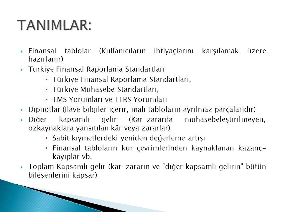  Finansal tablolar (Kullanıcıların ihtiyaçlarını karşılamak üzere hazırlanır)  Türkiye Finansal Raporlama Standartları  Türkiye Finansal Raporlama