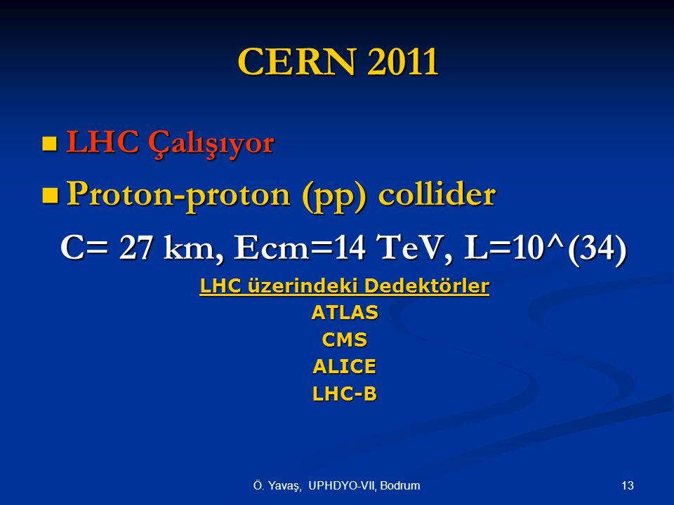 13Ö. Yavaş, UPHDYO-VII, Bodrum CERN 2011 LHC Çalışıyor LHC Çalışıyor Proton-proton (pp) collider Proton-proton (pp) collider C= 27 km, Ecm=14 TeV, L=1