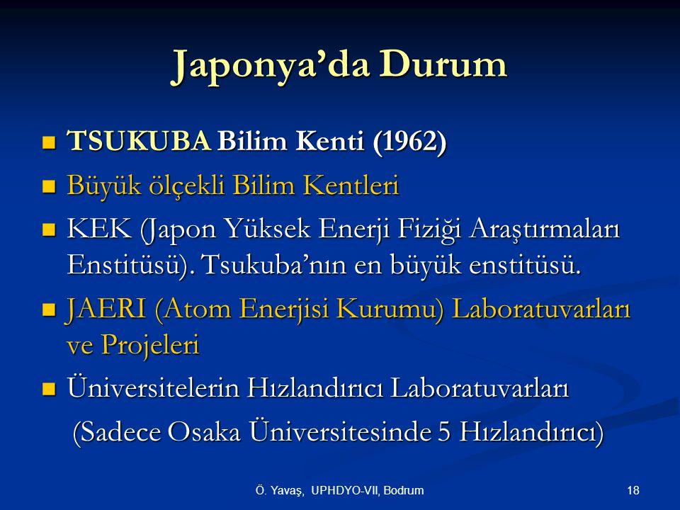 18Ö. Yavaş, UPHDYO-VII, Bodrum Japonya'da Durum TSUKUBA Bilim Kenti (1962) TSUKUBA Bilim Kenti (1962) Büyük ölçekli Bilim Kentleri Büyük ölçekli Bilim