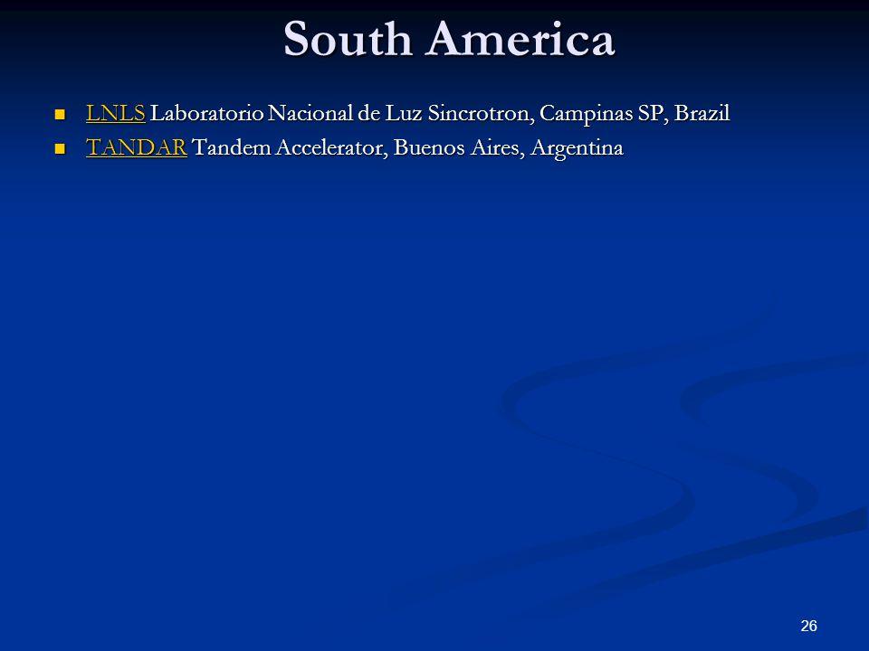 South America LNLS Laboratorio Nacional de Luz Sincrotron, Campinas SP, Brazil LNLS Laboratorio Nacional de Luz Sincrotron, Campinas SP, Brazil LNLS TANDAR Tandem Accelerator, Buenos Aires, Argentina TANDAR Tandem Accelerator, Buenos Aires, Argentina TANDAR 26