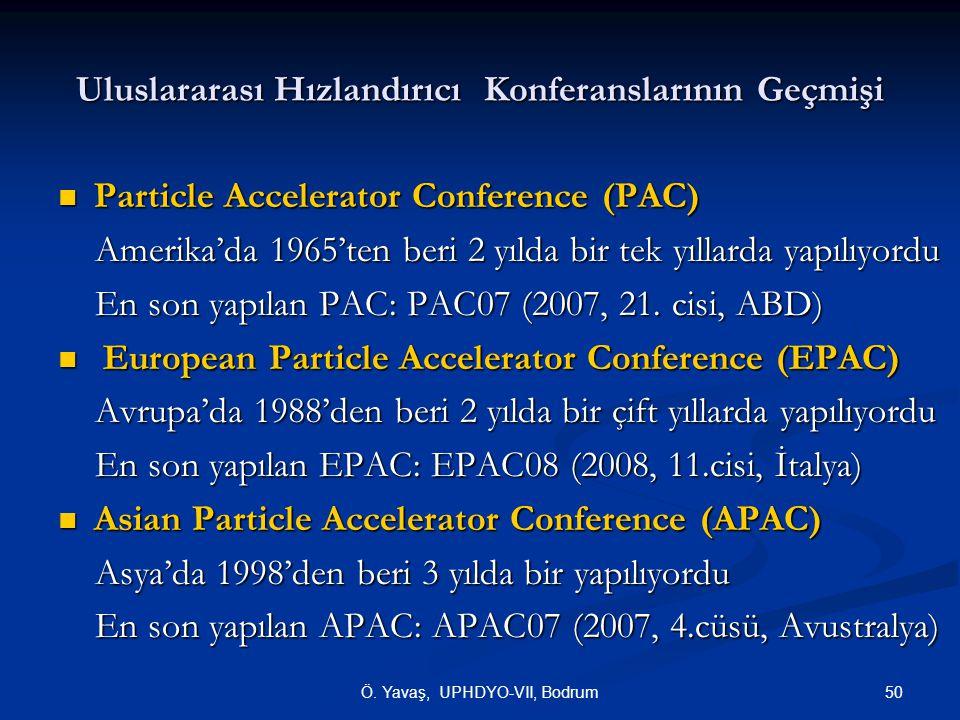 50Ö. Yavaş, UPHDYO-VII, Bodrum Uluslararası Hızlandırıcı Konferanslarının Geçmişi Particle Accelerator Conference (PAC) Particle Accelerator Conferenc