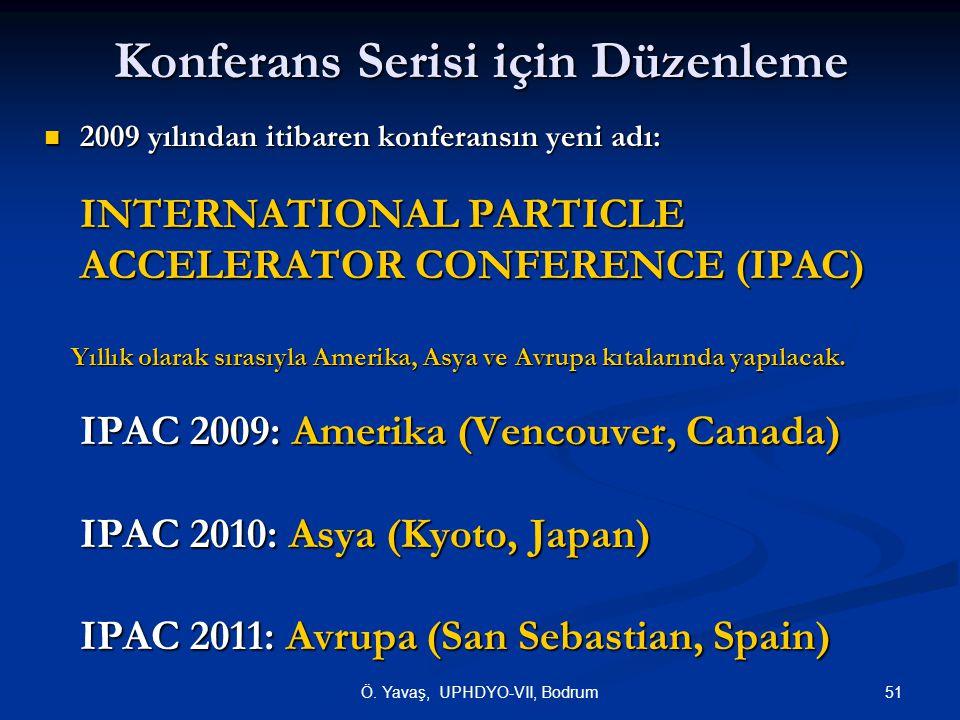 51Ö. Yavaş, UPHDYO-VII, Bodrum Konferans Serisi için Düzenleme 2009 yılından itibaren konferansın yeni adı: 2009 yılından itibaren konferansın yeni ad