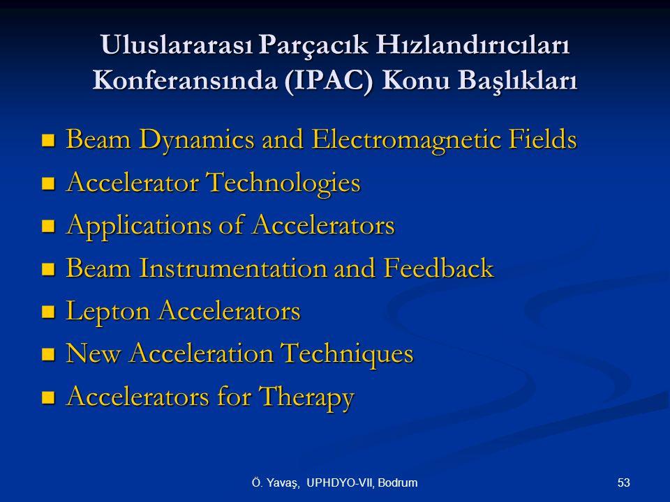 53Ö. Yavaş, UPHDYO-VII, Bodrum Uluslararası Parçacık Hızlandırıcıları Konferansında (IPAC) Konu Başlıkları Beam Dynamics and Electromagnetic Fields Be
