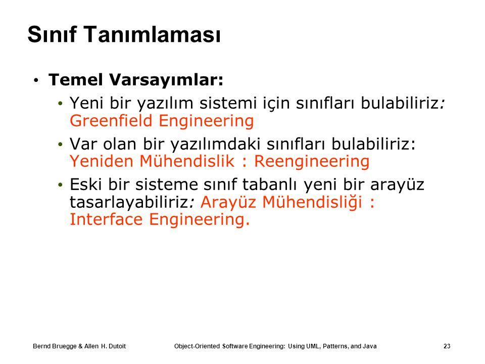Bernd Bruegge & Allen H. Dutoit Object-Oriented Software Engineering: Using UML, Patterns, and Java 23 Sınıf Tanımlaması Temel Varsayımlar: Yeni bir y