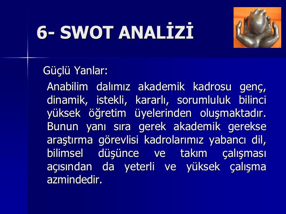 6- SWOT ANALİZİ Güçlü Yanlar: Güçlü Yanlar: Anabilim dalımız akademik kadrosu genç, dinamik, istekli, kararlı, sorumluluk bilinci yüksek öğretim üyele