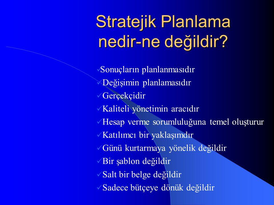 Stratejik Planlama kuruluşun şu dört temel soruyu cevaplandırmasına yardımcı olur 1- NEREDEYİZ.