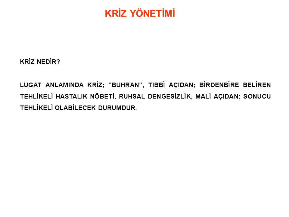 KRİZ ANI YÖNETİMİNDE YAPILMASI GEREKENLER 1.