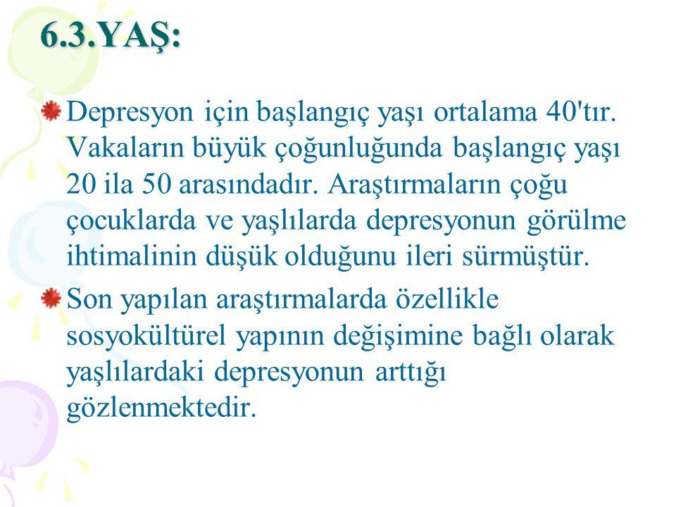 6.3.YAŞ: Depresyon için başlangıç yaşı ortalama 40 tır.