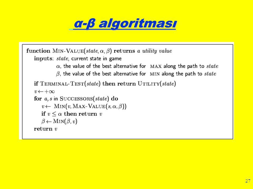 27 α-β algoritması α-β algoritması