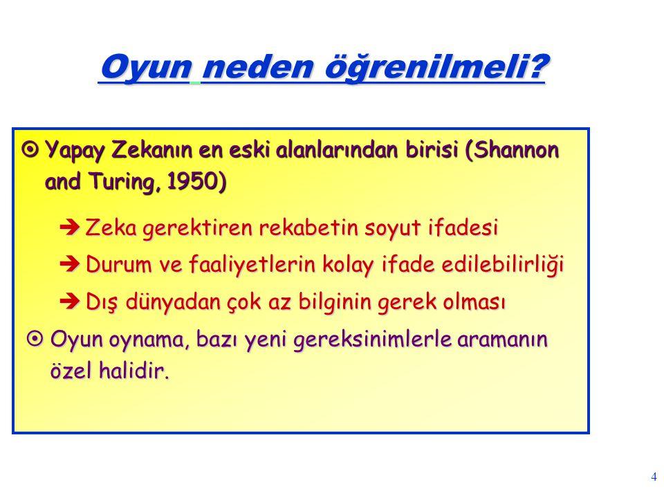 4 Oyun neden öğrenilmeli?  Yapay Zekanın en eski alanlarından birisi (Shannon and Turing, 1950)  Zeka gerektiren rekabetin soyut ifadesi  Durum ve