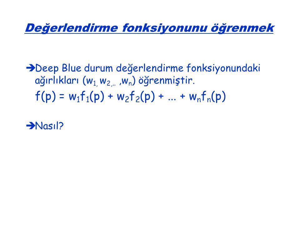   Deep Blue durum değerlendirme fonksiyonundaki ağırlıkları (w 1, w 2,..,w n ) öğrenmiştir. f(p) = w 1 f 1 (p) + w 2 f 2 (p) +... + w n f n (p)  