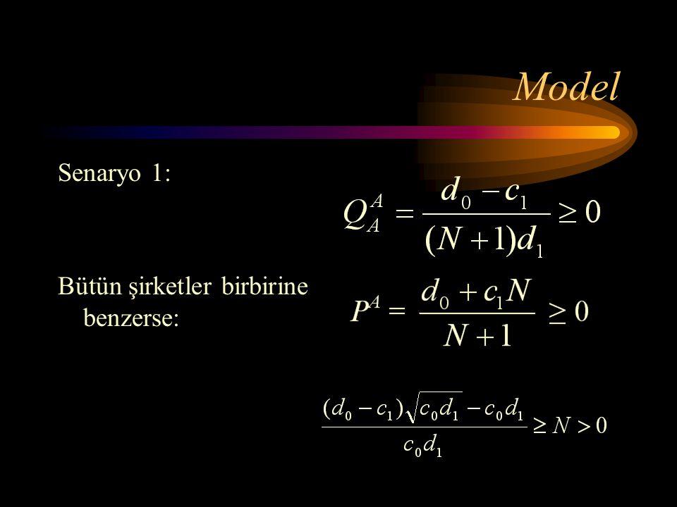 Model Senaryo 1: Bütün şirketler birbirine benzerse: