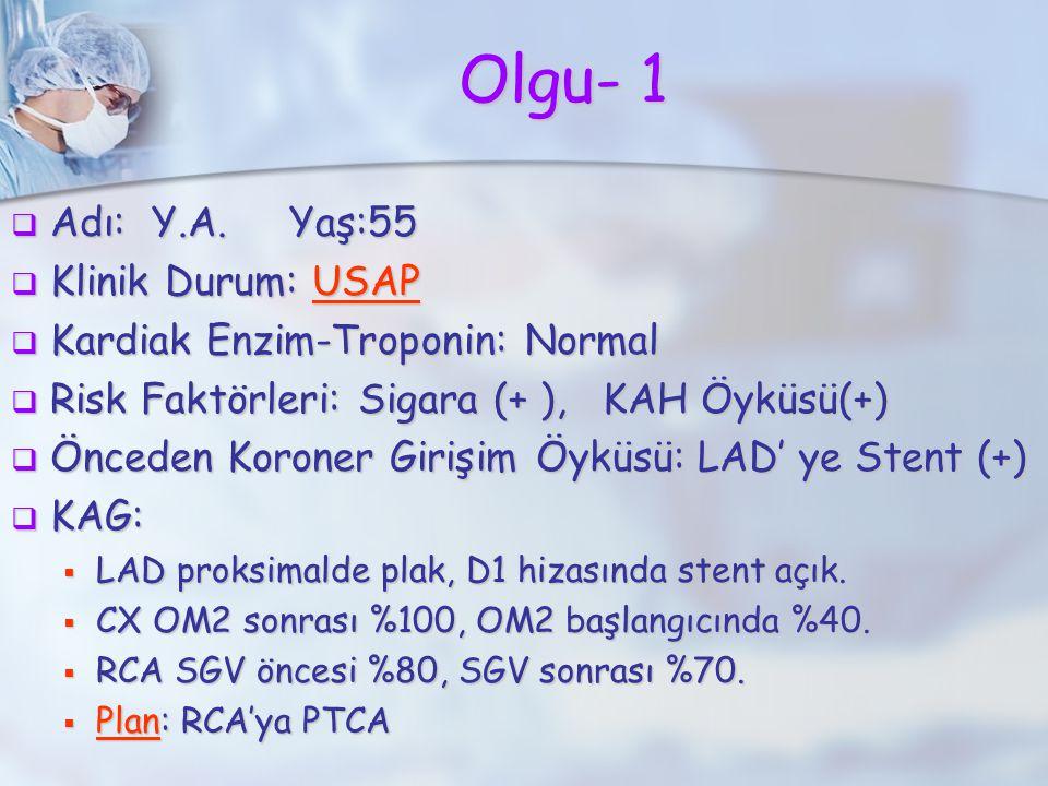 Olgu- 1  Adı: Y.A. Yaş:55  Klinik Durum: USAP  Kardiak Enzim-Troponin: Normal  Risk Faktörleri: Sigara (+ ), KAH Öyküsü(+)  Önceden Koroner Giriş